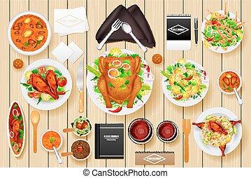 Identity branding mockup for dinner table - easy to edit...
