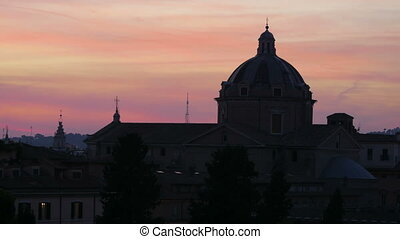 quot;silhouette dome, sunset in rome, italy, timelapse,...