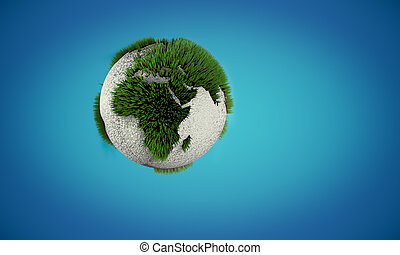 Earth globe with growing green and white grass like on...