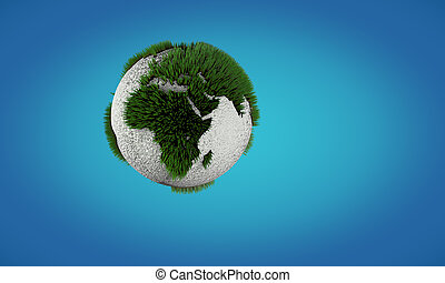 Conceptual image of Earth globe with growing grass Concept...