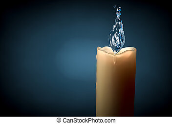 Conceptual image of candle with water and bubble flame -...