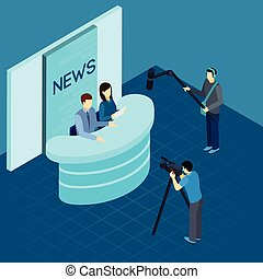 Professional Journalists At Studio Isometric Banner