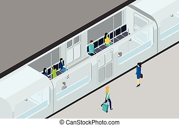 Underground People And Train Illustration - Underground...