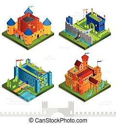 Medieval Castles Isometric Collection - Medieval castles...