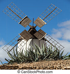 Old windmill in Antigua village, Fuerteventura, Canary...
