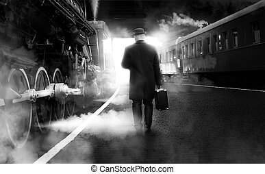 Black and white photo of man in vintage clothes walking on...