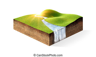 little island on air - piece of grass isolated on white...