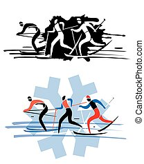 Three cross country skierseps - Three stylized cross country...