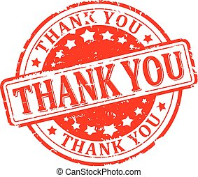 thank you - Scratched round red stamp with the words - thank...