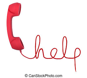 Help line - Red telephone with help text isolated on a white...