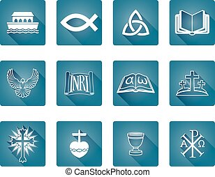cristão, ícones,