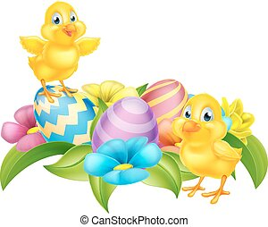 Cartoon Chicks and Easter Eggs