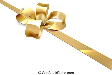 Gold Bow Christmas Gift Background