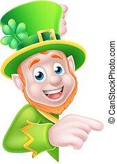 Leprechaun Pointing Round Sign - Leprechaun cartoon St...
