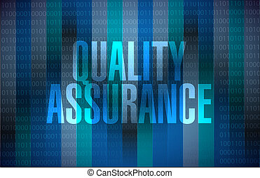 Quality Assurance binary background sign concept...
