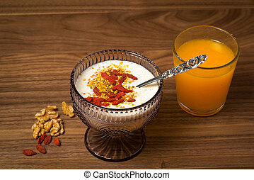 Overnight oatmeal breakfast with porridge and orange juice...