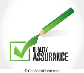 Quality Assurance check mark sign concept illustration...