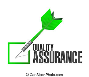 Quality Assurance check dart sign concept illustration...