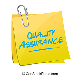 Quality Assurance memo post sign concept illustration design...
