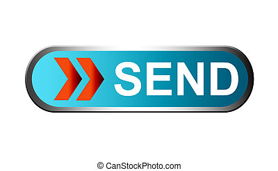 Send - blue button with red arrows and silver frame for send...