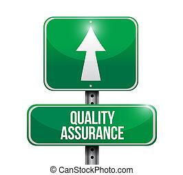 Quality Assurance road sign concept illustration design...
