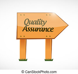Quality Assurance wood sign concept illustration design...
