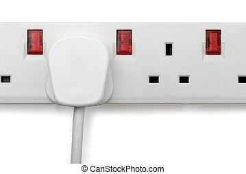 plug in plug bar isolated - a single plug in a plug bar...
