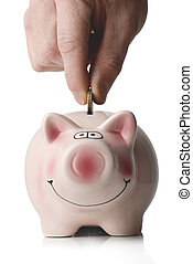 coin into smiling piggy bank