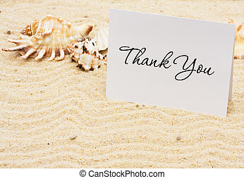 Thankful for Vacation Time - A thank you card with sea...