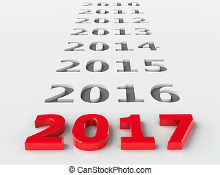 2017 past represents the new year 2017, three-dimensional...