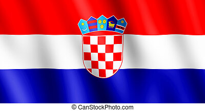 Flag of Croatia waving in the wind giving an undulating...