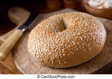 Sesame Seed Bagel - A delicious sesame seed bagel on a...