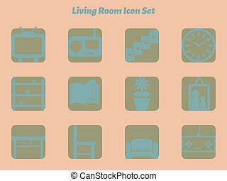 Living room icon set with various objects in living room