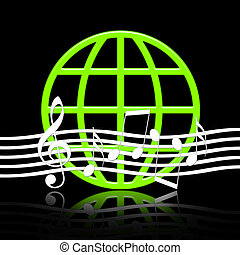 Music World - Elegant music emblem with musical symbols and...