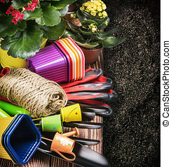 Gardening tools on the ground