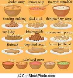 Vedic Indian cuisine, set of vegetarian healthy food,...