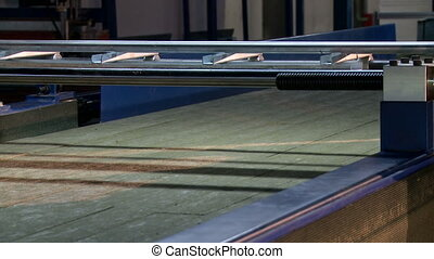 Production workshop. View of empty conveyor belt, close-up