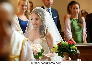 elegant stylish bride under vail on the wedding ceremony on...