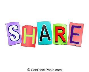 Share word concept - Illustration depicting a set of cut out...