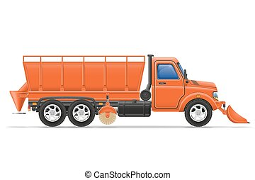 cargo truck clearing snow and sprinkled on the road vector illustration