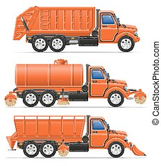 cargo trucks municipal cleaning services vector illustration...