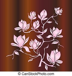 Flowering Branch of Magnolia on wood background vector illustration