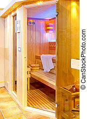 Steam room - Look inside house steam room with wooden...
