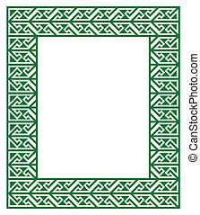 keltisch, Schlüssel, Muster, -, grün, Rahmen,
