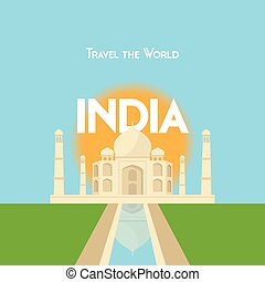 Travel the World - India - Flat style travel poster - India...