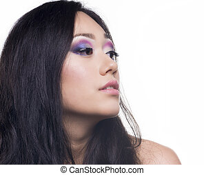 Beautifull model with long black hair - Portrait of a...