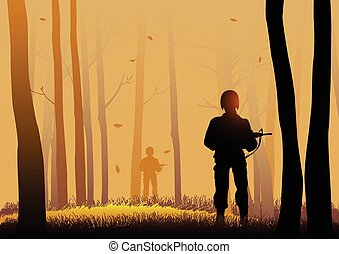 Guerrilla - Silhouette illustration of soldiers in the dark...
