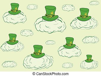 Green sky of Saint Patrick - Conceptual illustration with...