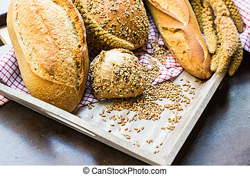 Different type of bread - Different tye of bread with wheat...
