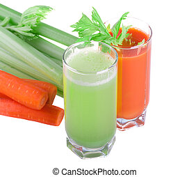 Celery and carrot juice isolated on white background